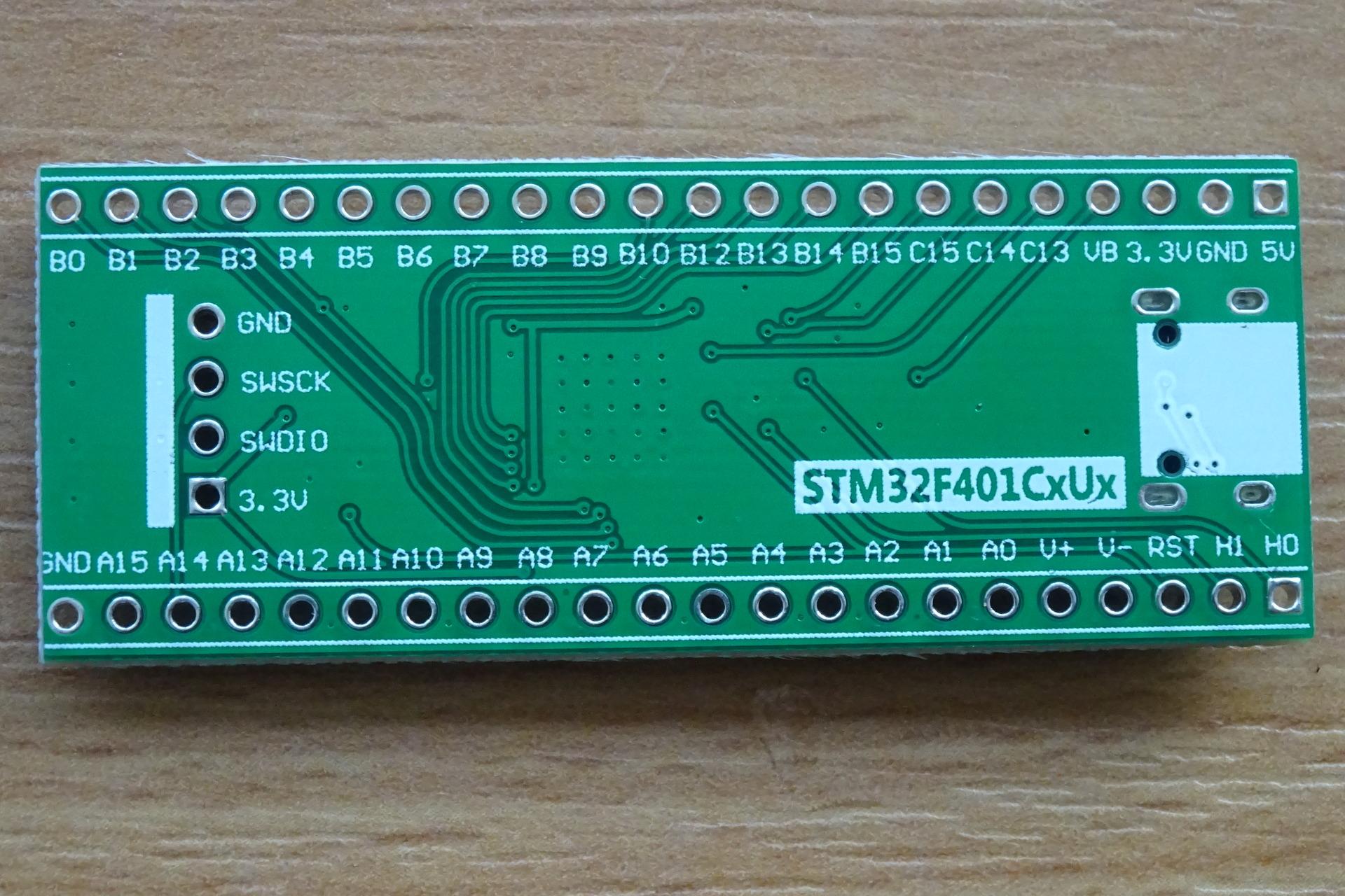 STM32 Mini F401: Bottom view (no headers)