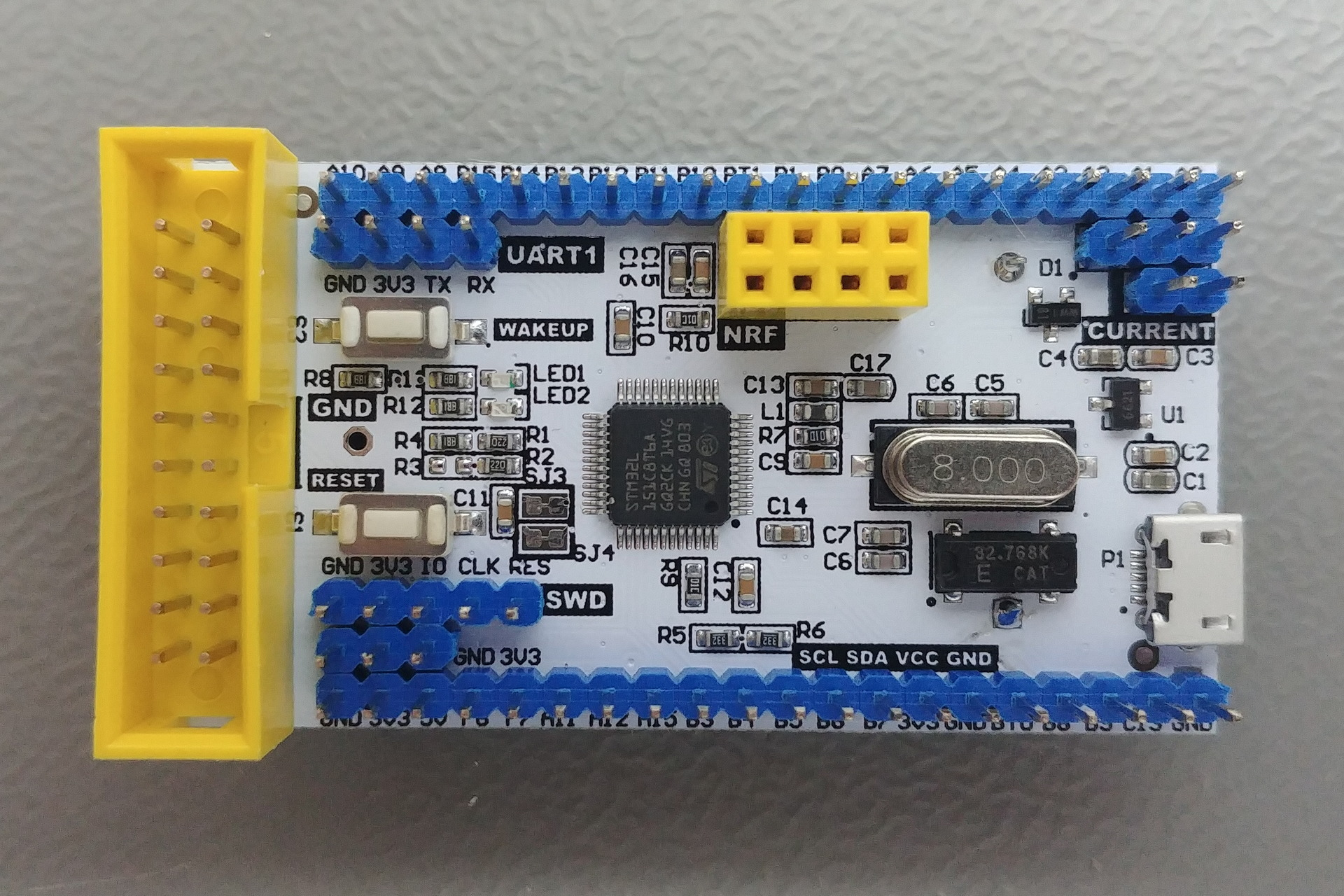 STM32xxxC8T6 Board: Top view