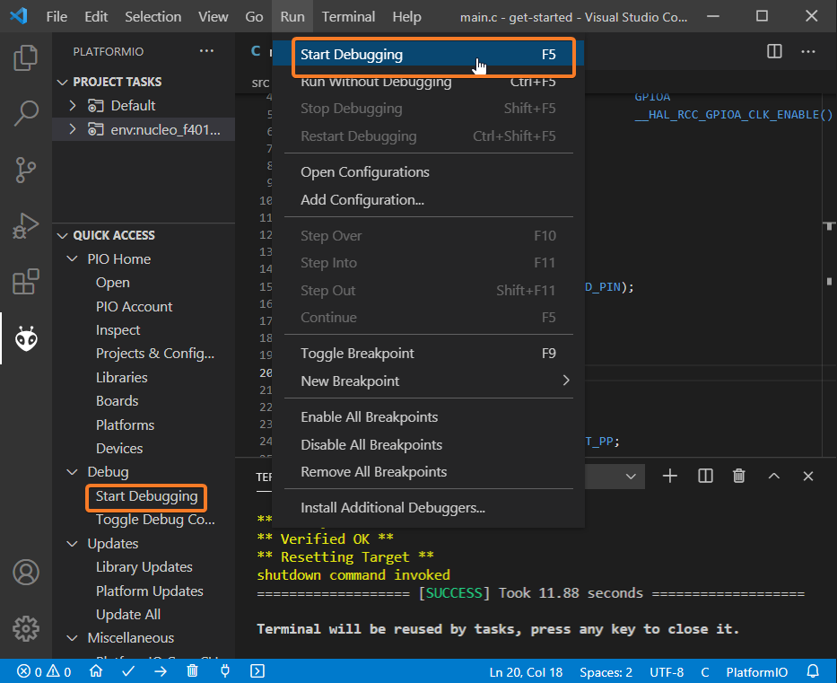 Getting Started with PlatformIO Debug Initialization