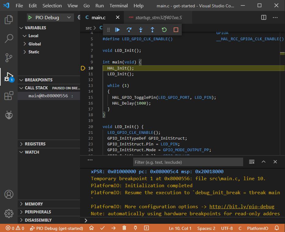 Getting Started with PlatformIO Debug Session
